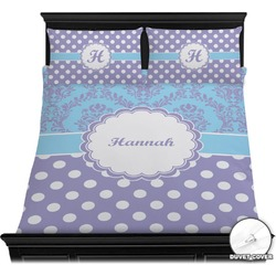Purple Damask & Dots Duvet Cover Set (Personalized)