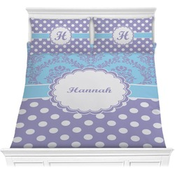 Purple Damask & Dots Comforter Set - Full / Queen (Personalized)