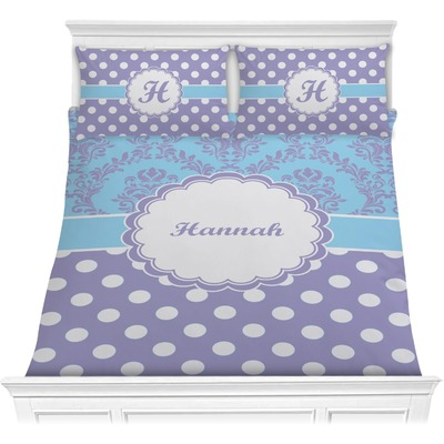 Purple Damask & Dots Comforters (Personalized)