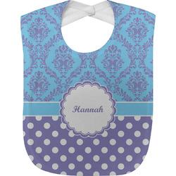 Purple Damask & Dots Baby Bib (Personalized)