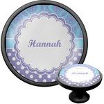 Purple Damask & Dots Cabinet Knob (Black) (Personalized)