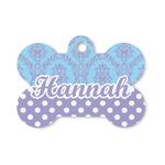 Purple Damask & Dots Bone Shaped Dog ID Tag (Personalized)