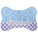 Purple Damask & Dots Bone Shaped Dog Food Mat (Personalized)