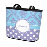 Purple Damask & Dots Bucket Tote w/ Genuine Leather Trim (Personalized)