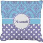 Purple Damask & Dots Faux-Linen Throw Pillow (Personalized)