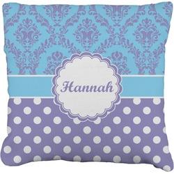 Purple Damask & Dots Faux-Linen Throw Pillow (Personalized)