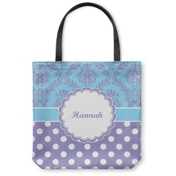 Purple Damask & Dots Canvas Tote Bag (Personalized)