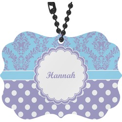 Purple Damask & Dots Rear View Mirror Decor (Personalized)
