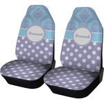 Purple Damask & Dots Car Seat Covers (Set of Two) (Personalized)