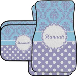 Purple Damask & Dots Car Floor Mats Set - 2 Front & 2 Back (Personalized)