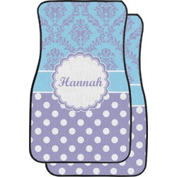 Purple Damask & Dots Car Floor Mats (Front Seat) (Personalized)
