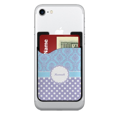 Purple Damask & Dots 2-in-1 Cell Phone Credit Card Holder & Screen Cleaner (Personalized)