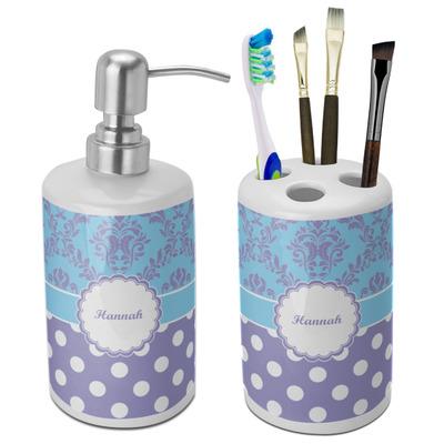 Purple Damask & Dots Ceramic Bathroom Accessories Set (Personalized)