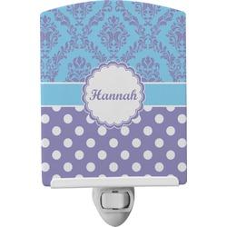 Purple Damask & Dots Ceramic Night Light (Personalized)