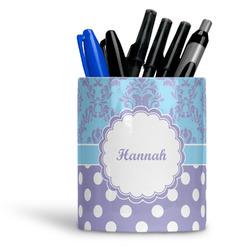 Purple Damask & Dots Ceramic Pen Holder