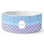 Purple Damask & Dots Ceramic Pet Bowl (Personalized)