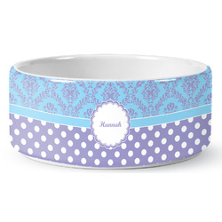 Purple Damask & Dots Ceramic Dog Bowl (Personalized)