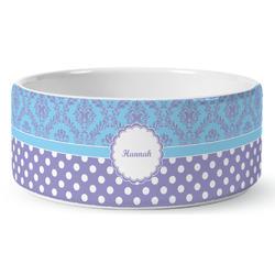 Purple Damask & Dots Ceramic Dog Bowl (Personalized)