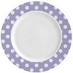 Purple Damask & Dots Ceramic Dinner Plates (Set of 4) (Personalized)