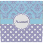 Purple Damask & Dots Ceramic Tile Hot Pad (Personalized)