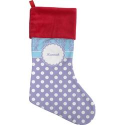 Purple Damask & Dots Christmas Stocking (Personalized)
