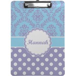 Purple Damask & Dots Clipboard (Personalized)