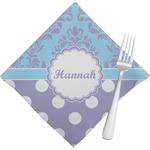 Purple Damask & Dots Napkins (Set of 4) (Personalized)