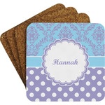 Purple Damask & Dots Coaster Set w/ Stand (Personalized)
