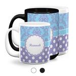 Purple Damask & Dots Coffee Mugs (Personalized)