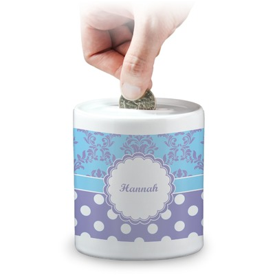 Purple Damask & Dots Coin Bank (Personalized)