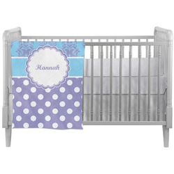 Purple Damask & Dots Crib Comforter / Quilt (Personalized)