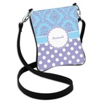Purple Damask & Dots Cross Body Bag - 2 Sizes (Personalized)