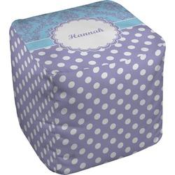 """Purple Damask & Dots Cube Pouf Ottoman - 18"""" (Personalized)"""