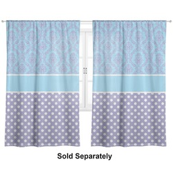 "Purple Damask & Dots Curtains - 20""x84"" Panels - Lined (2 Panels Per Set) (Personalized)"