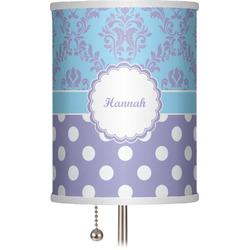"Purple Damask & Dots 7"" Drum Lamp Shade (Personalized)"