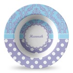 Purple Damask & Dots Plastic Bowl - Microwave Safe - Composite Polymer (Personalized)