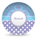 Purple Damask & Dots Microwave Safe Plastic Plate - Composite Polymer (Personalized)