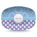 Purple Damask & Dots Plastic Platter - Microwave & Oven Safe Composite Polymer (Personalized)