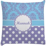 Purple Damask & Dots Decorative Pillow Case (Personalized)