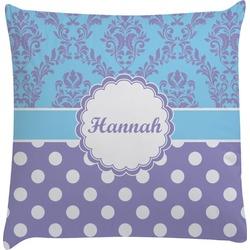 Purple Damask & Dots Decorative Pillow Case (Personalized)