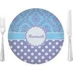 "Purple Damask & Dots Glass Lunch / Dinner Plates 10"" - Single or Set (Personalized)"