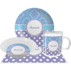 Purple Damask & Dots Dinner Set - 4 Pc (Personalized)