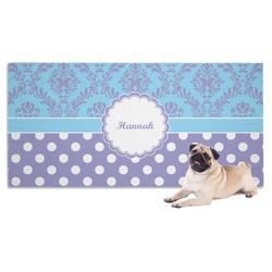 Purple Damask & Dots Pet Towel (Personalized)
