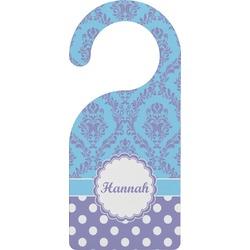 Purple Damask & Dots Door Hanger (Personalized)