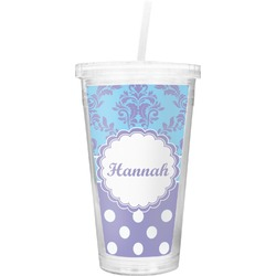 Purple Damask & Dots Double Wall Tumbler with Straw (Personalized)