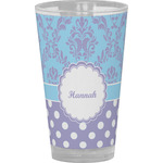 Purple Damask & Dots Drinking / Pint Glass (Personalized)