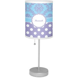 "Purple Damask & Dots 7"" Drum Lamp with Shade (Personalized)"