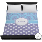 Purple Damask & Dots Duvet Cover (Personalized)