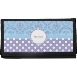 Purple Damask & Dots Canvas Checkbook Cover (Personalized)