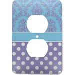 Purple Damask & Dots Electric Outlet Plate (Personalized)